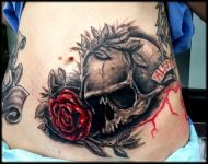 Skull and red roses
