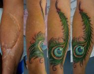 Scar Cover Up with Peacock Feather