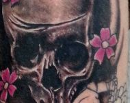 Skull with cherry blossoms